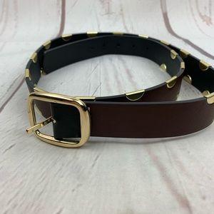Unbranded   Black Brown Gold Reversible Belt
